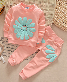 Dells World Flower Print Fullsleeves Top & Pant Set - Peach