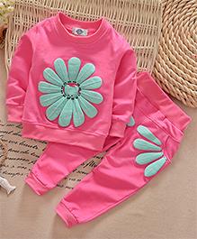 Dells World Flower Print Fullsleeves Top & Pant Set - Pink