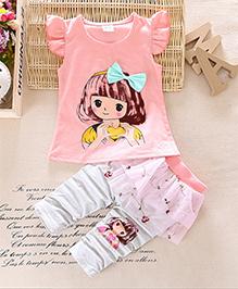 Dells World Doll Print Top & Stylish Pant Set - Pink & White