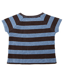 Weedots Half Sleeves Striped Cotton Thermal Tee - Blue & Black