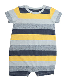 Weedots Half Sleeves Striped Romper - Multicolor