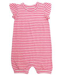 Weedots Cap Sleeves Striped Romper - Pink