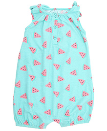 Weedots Sleeveless Romper Fruit Print - Turquoise