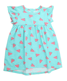 Weedots Flutter Sleeves Frock Watermelon Print - Turquoise