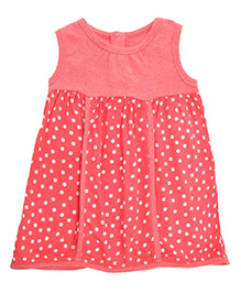 Weedots Sleeveless Frock Dots Print - Pink
