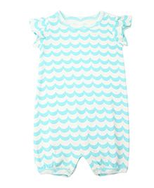 Weedots Short Sleeves Romper Wavy Lines Print - White and Blue