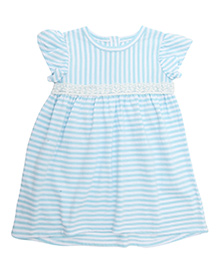 Weedots Short Sleeves Frock Stripes Print - White and Blue