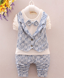 Pre Order : Lil Mantra Printed Mock Waistcoa 2 Piece Set With Bowtie - White & Blue