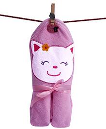 D'chica Good Morning Little Kitty Hooded Towel - Pink