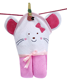D'chica Sweet Kitty With A Bow Hooded Towel - Pink & White