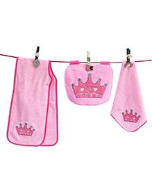 D'chica Princess Set Of 3 Burp Cloth, Bib & Wash Cloth - Pink