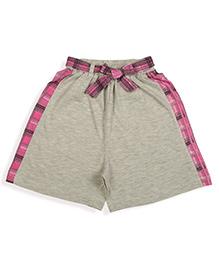 De-nap Checks Belt Shorts - Ecru