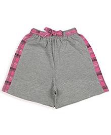 De-nap Checks Belt Shorts - Grey