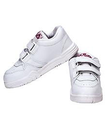 Rex School Shoes With Velcro Closure - White