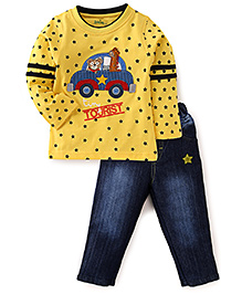 Babyhug Full Sleeves T-Shirt With Jeans - Yellow Blue