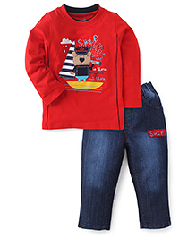 Babyhug Full Sleeves T-Shirt & Jeans Set - Red & Denim Blue