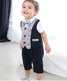 Pre Order : Petite Kids Party Romper Suit - Black & Grey