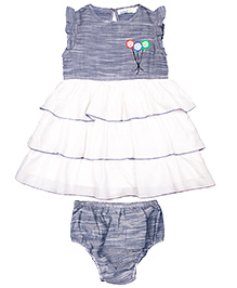 ShopperTree Sleeveless Embroidered Frock With Bloomer - Grey