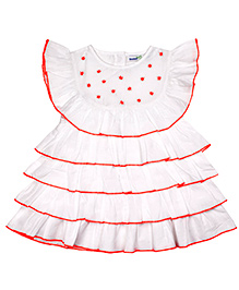 ShopperTree Sleeveless Embroidered Frock With Bloomer - White And Red