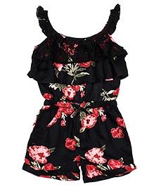 Shoppertree Sleeveless Floral Print Jumpsuit - Black