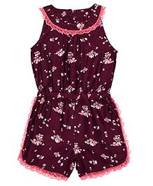 Shoppertree Sleeveless Floral Print Jumpsuit - Maroon