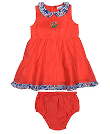 ShopperTree Sleeveless Embroidered Frock With Bloomer - Orange