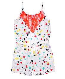 Shoppertree Singlet Star Print Jumpsuit - White And Orange