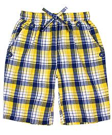 ShopperTree Checkered Print Shorts - Yellow