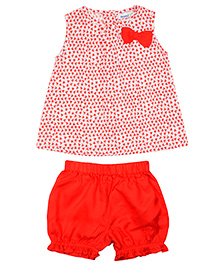 Shoppertree Sleeveless Printed Top And Bloomer Set - Red