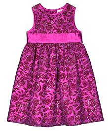 Shoppertree Sleeveless Party Wear Frock - Purple Pink