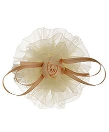 Angel Closet Rose Tulle Hair Clip - Beige