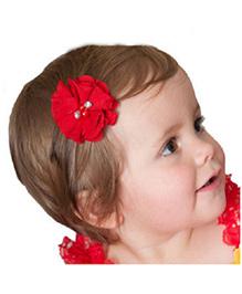 Angel Closet Chiffon Flower Hair Clip - Red
