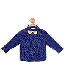 Campana Full Sleeves Shirt With Bow Tie - Navy