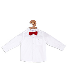 Campana Full Sleeves Party Wear Shirt With Bow Tie - White
