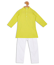 Campana Full Sleeves Kurta Pyjama Set - White And Green