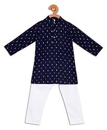 Campana Full Sleeves Kurta Pyjama Set - Navy And White