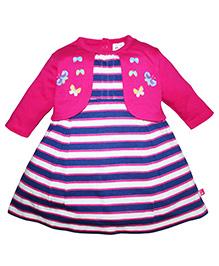 FS Mini Klub Full Sleeves Stripes Dress Butterfly Print - Pink