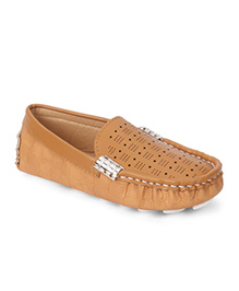 Cute Walk By Babyhug Loafer Shoes Star Design - Brown