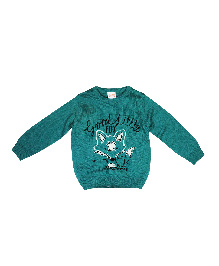 FS Mini Klub Full Sleeves Sweater Fox Design - Green