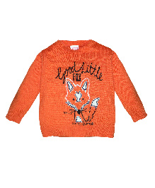 FS Mini Klub Full Sleeves Sweater Fox Design - Orange