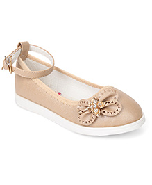 Cute Walk by Babyhug Belly Shoes Bow Applique - Apricot