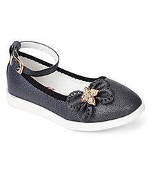 Cute Walk by Babyhug Belly Shoes Bow Applique - Black