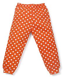 Babyhug All Over Dotted Fleece Leggings - Orange