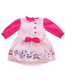 FS Mini Klub Full Sleeves Pinafore Dress With Tee - Pink