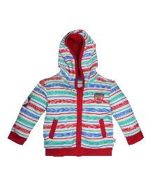 FS Mini Klub Full Sleeves Stripes Hooded Jacket - Multicolor