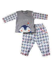 FS Mini Klub Full Sleeves T-Shirt And Pajama Set Penguin Patch - Grey
