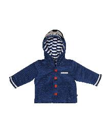 FS Mini Klub Full Sleeves Cord Velour Hooded Jacket - Navy