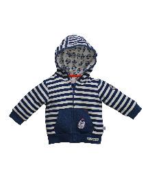 FS Mini Klub Full Sleeves Fleece Stripes Hooded Jacket - Navy White