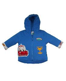 FS Mini Klub Full Sleeves Hooded Wadded Jacket - Blue