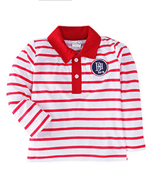 Babyhug Long Sleeves Striped Tee Embroidered Patch - Red And White